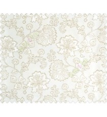 Beautiful Chinese Flower with Silver border with small buds and leaves continuous design on White Beige main curtain