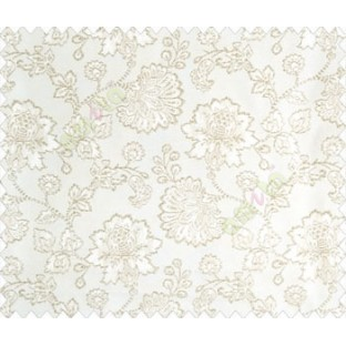 Beautiful Chinese Flower with Silver  border with small buds and leaves continous design on White Beige main curtain