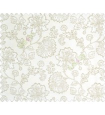 Beautiful Chinese Flower with Gold border with small buds and leaves continuous design on White Beige main curtain