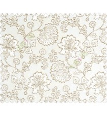 Beautiful Chinese Flower with Copper border with small buds and leaves continuous design on Dark Brown Beige main curtain