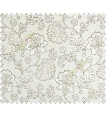 Beautiful Chinese Flower with Dark Grey border with small buds and leaves continuous design on Beige main curtain