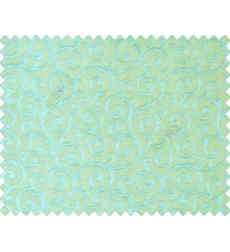 Aqua blue green Self design small embossed continuous scroll on stripe textured base fabric main curtain
