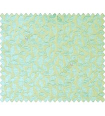 Aqua blue green Self design small embossed continuous leaf on stripe textured base fabric main curtain