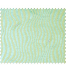 Aqua blue green self design continuous small trendy waves on stripe textured base fabric main curtain