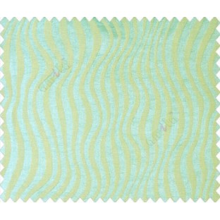 Aqua blue green self design continous small trendy waves on stripe textured base fabric main curtain