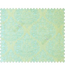 Aqua blue green self design small beautiful damask on stripe textured base fabric main curtain