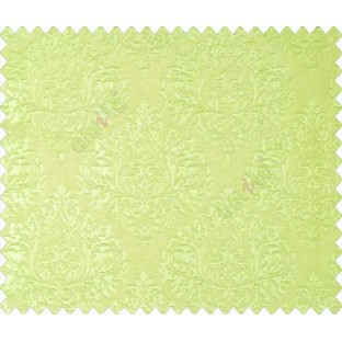Olive lime green self design small beautiful damask on stripe textured base fabric main curtain