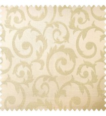 Beige color traditional design texture finished surface shiny swirls pattern polyester main curtain