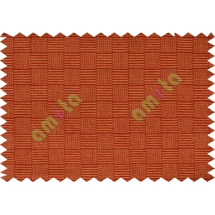 Small square stripes with maroon and orange colour main cotton curtain designs