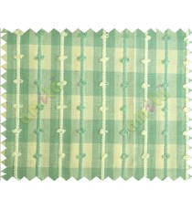 Green white checks stripes emboss loop main cotton curtain designs