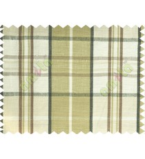 Green black white brown checks main cotton curtain designs
