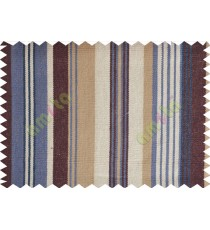 Brown white blue  beige stripes main cotton curtain designs