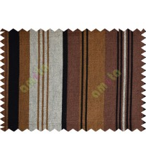 Black white brown yellow stripes main cotton curtain designs