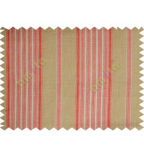 Red white beige elegant stripes main cotton curtain designs