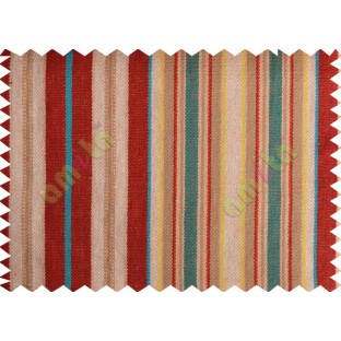 Red white aqua blue green  busy stripes main cotton curtain designs