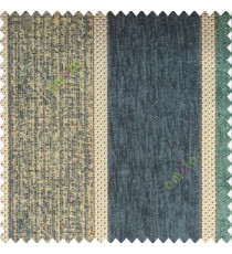 Aqua blue gold color bold vertical stripes texture finished chennile soft and rough touch jute weaving embossed soft lines poly sofa fabric