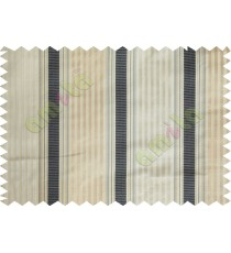 Black beige color vertical emb texture stripes poly main curtains design -104411