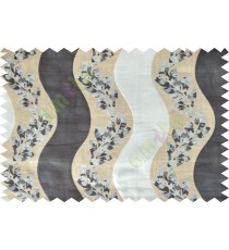 Black beige grey color vertical flowing stripes with flower pattern poly main curtain - 104415