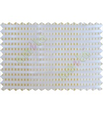 Gold white beige semi transparent fab with horizontal thick fab stripes and parallel color stripes poly sheer curtains design - 104419
