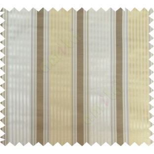 Brown yellow beige color vertical emb texture stripes poly main curtains design - 104420