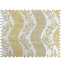 Beige gold white color vertical flowing stripes with flower pattern poly main curtain - 104424