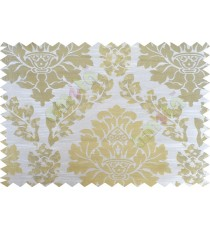 Beige gold white color seamless big damask pattern poly main curtain - 104425