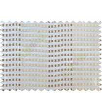 Brown beige gold white semi transparent fab with horizontal thick fab stripes and parallel color stripes poly sheer curtains design - 104428