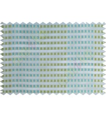 Blue green beige white semi transparent fab with horizontal thick fab stripes and parallel color stripes poly sheer curtains design - 104446