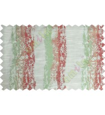 Green maroon beige colour vertical texture colour paint with horizontal pencil stripes poly main curtains design - 104466