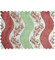Green maroon beige color vertical flowing stripes with flower pattern poly main curtain - 104468