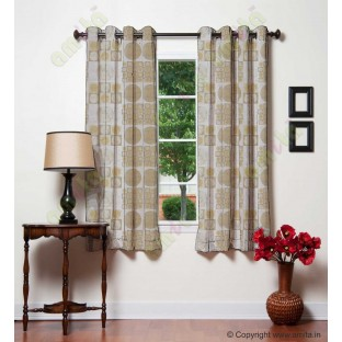Beige gold white color geometric pattern with horizontal pencil stripes poly main curtains design - 104423