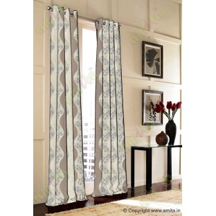 Brown gold white color vertical flowing stripes with flower pattern poly main curtain - 104433
