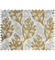 Gold Brown Beige Color Elegant Spring Leaf Pattern Poly Fabric Main Curtain-Designs