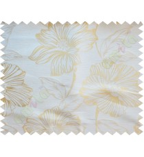 Beige Gold Beautiful Natural Flower Poly Fabric Main Curtain-Designs