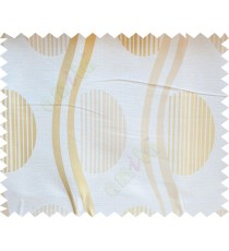 Beige Gold Semi Oval Stripes Curve Bold Lines Poly Fabric Main Curtain-Designs
