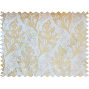 Beige Gold Color Elegant Spring Leaf Pattern Poly Fabric Main Curtain-Designs