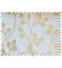 Beige Gold Twig Flower Buds Poly Fabric Main Curtain-Designs