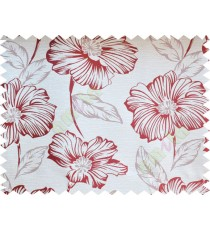 Maroon beige beautiful natural flower poly fabric main curtain designs