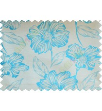 Blue beige beautiful natural flower poly fabric main curtain designs