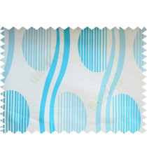Aqua blue beige semi oval stripes curve bold lines poly fabric main curtain designs