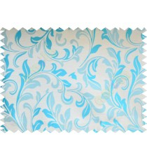 Aqua blue beige traditional leafy poly fabric main curtain designs