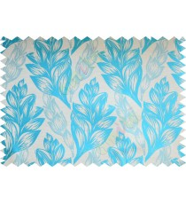 Aqua blue beige floral design poly fabric main curtain designs