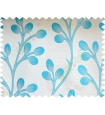 Aqua blue beige flower buds poly fabric main curtain designs