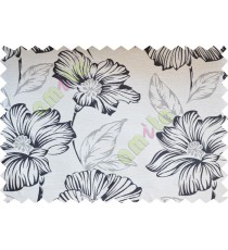 Black white beige beautiful natural flower poly fabric main curtain designs