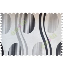 Black white beige semi oval stripes curve bold lines poly fabric main curtain designs