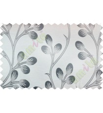 Black beige flower buds poly fabric main curtain designs