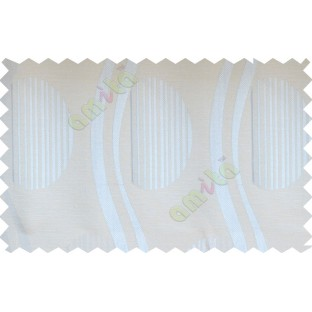 Silver cream semi oval stripes curve bold lines poly fabric main curtain designs