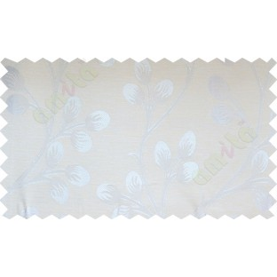 Silver beige flower buds poly fabric main curtain designs