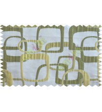 Green gold white color retro square pattern with thick fabric poly main curtains design - 104531