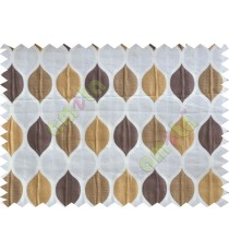 Brown beige orange color moroccan pattern poly main curtains design - 104537